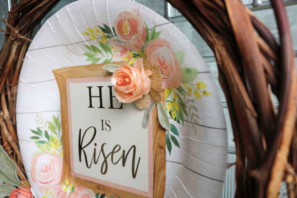 He is Risen paper plate wreath