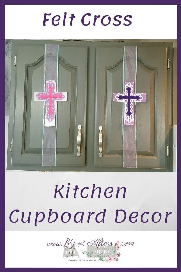 felt crosses on kitchen cupboard doors