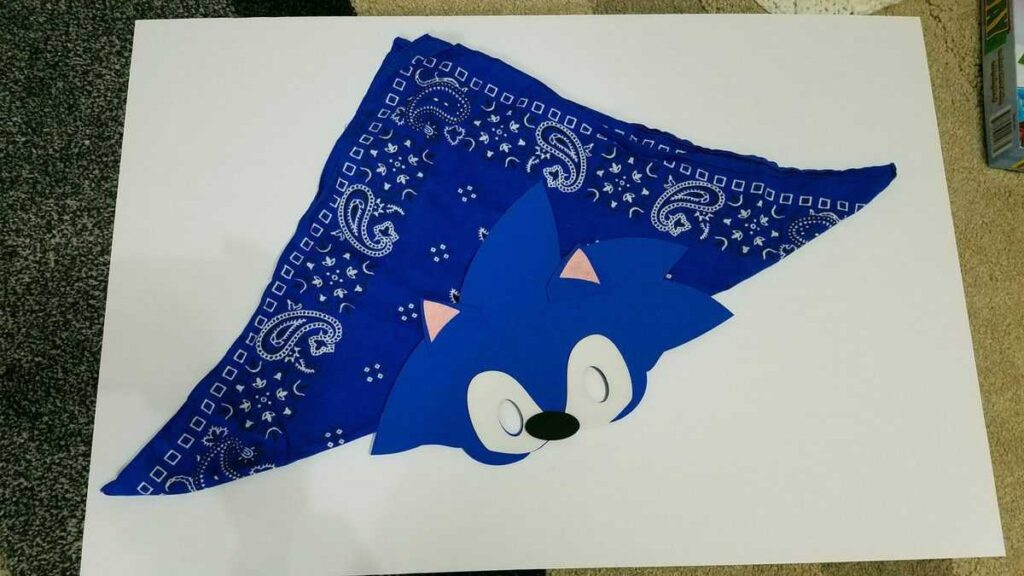 sonic face mask attached to blue bandana with velcro