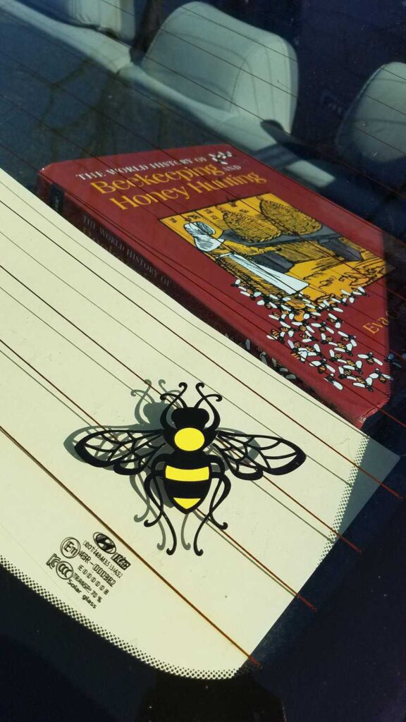Honey Bee Window Decal with Bee book in background