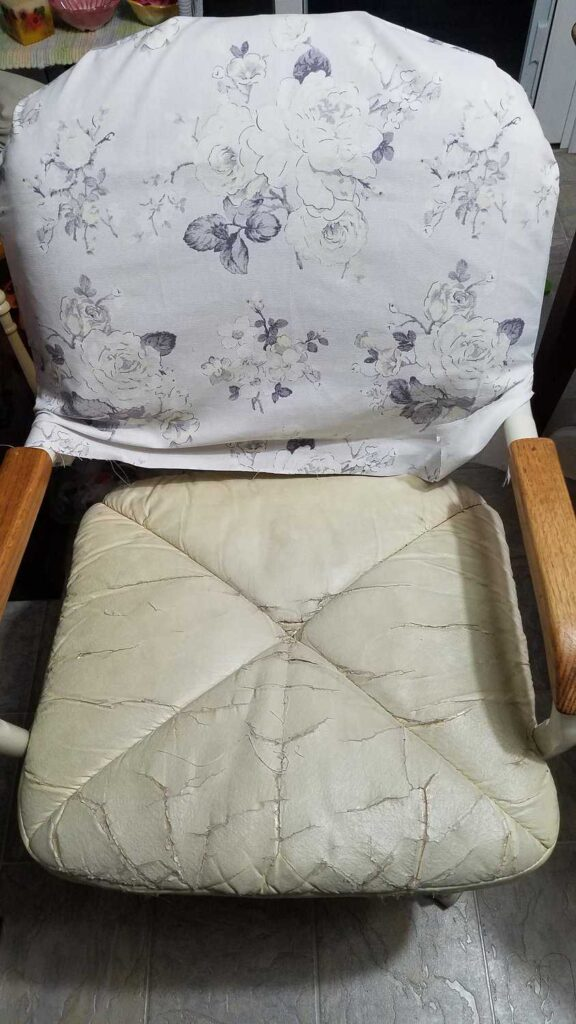 slipcover on back of chair
