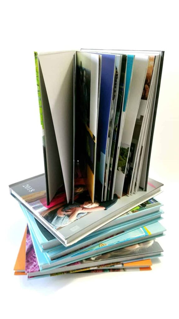 photo books stacked up