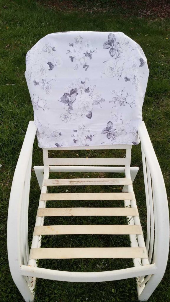 slipcover on an outdoor chair frame
