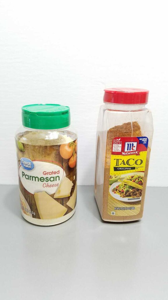 parmesan cheese container and a taco seasoning container