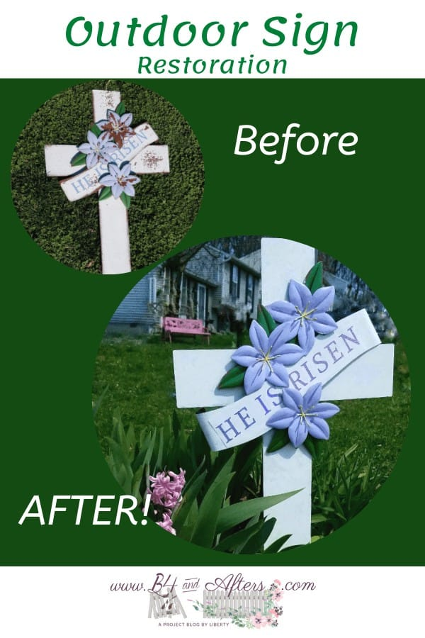 before and after pictures of an Easter sign