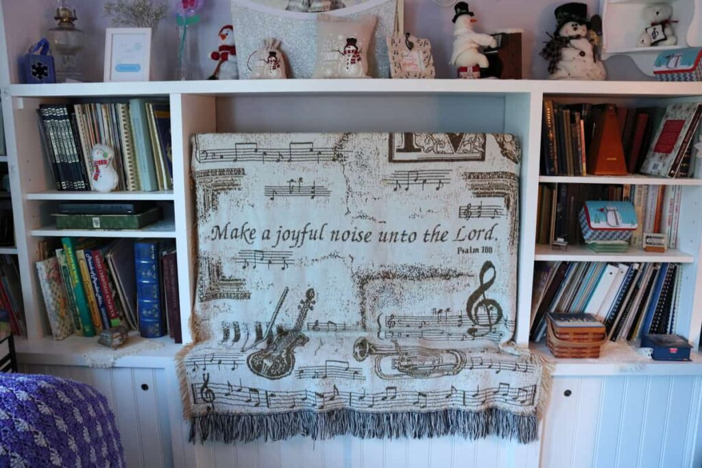 music blanket as dust cover for tv stand decor