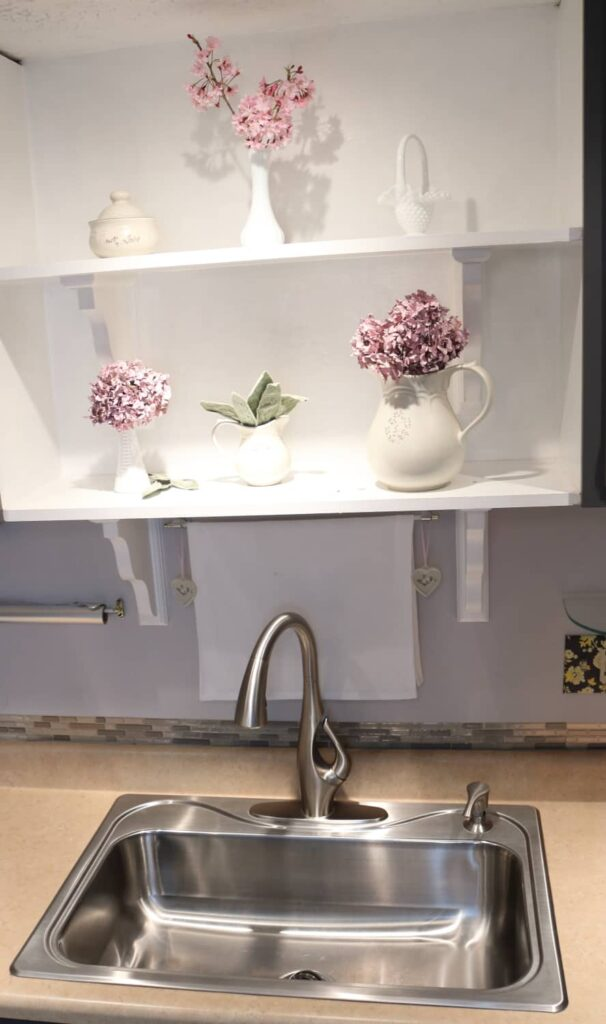 sink with pretty shelving