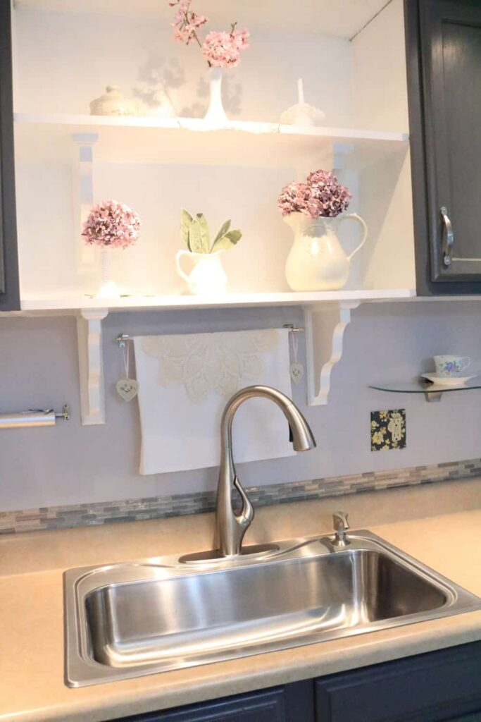 pretty styled kitchen shelves
