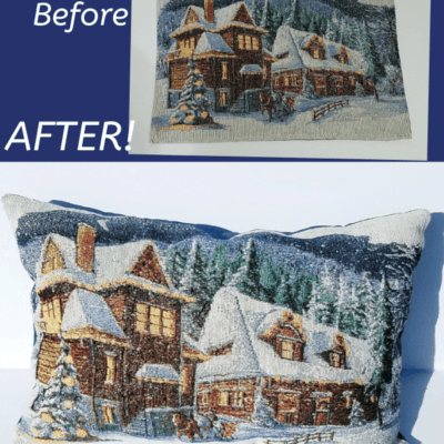 pillow made out of a placemat with a winter scene