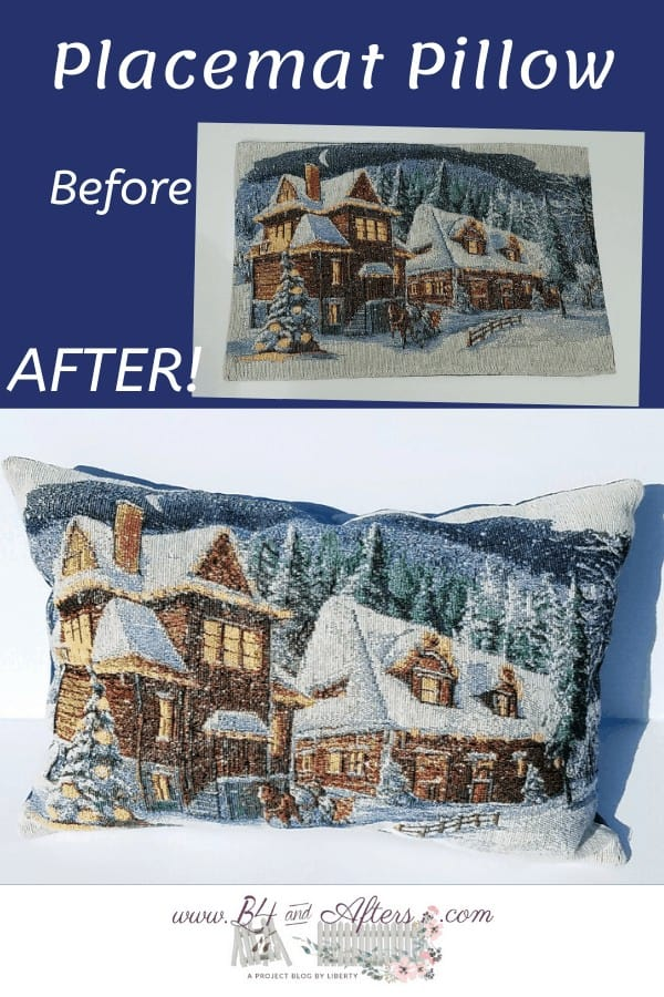 placemat to pillow before and after