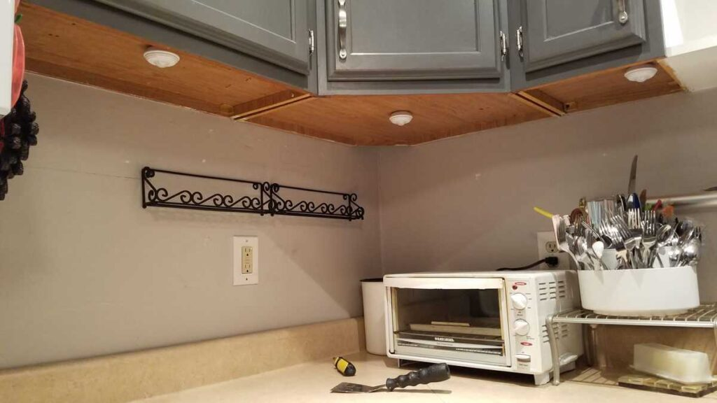 underneath the upper kitchen cabinets