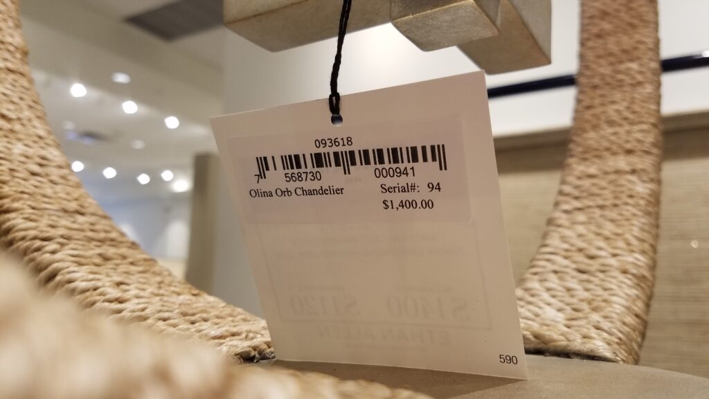 price tag of Ethan Allen Chandelier