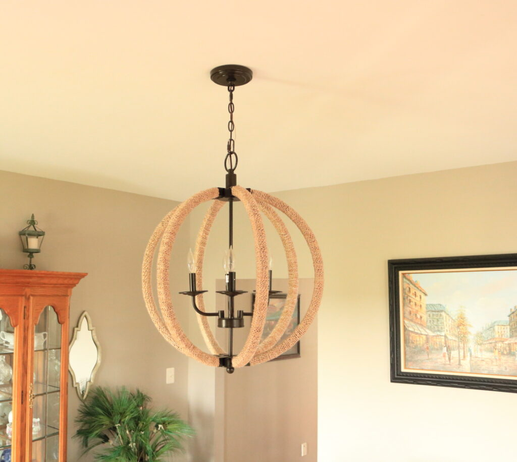 view of knock off chandelier