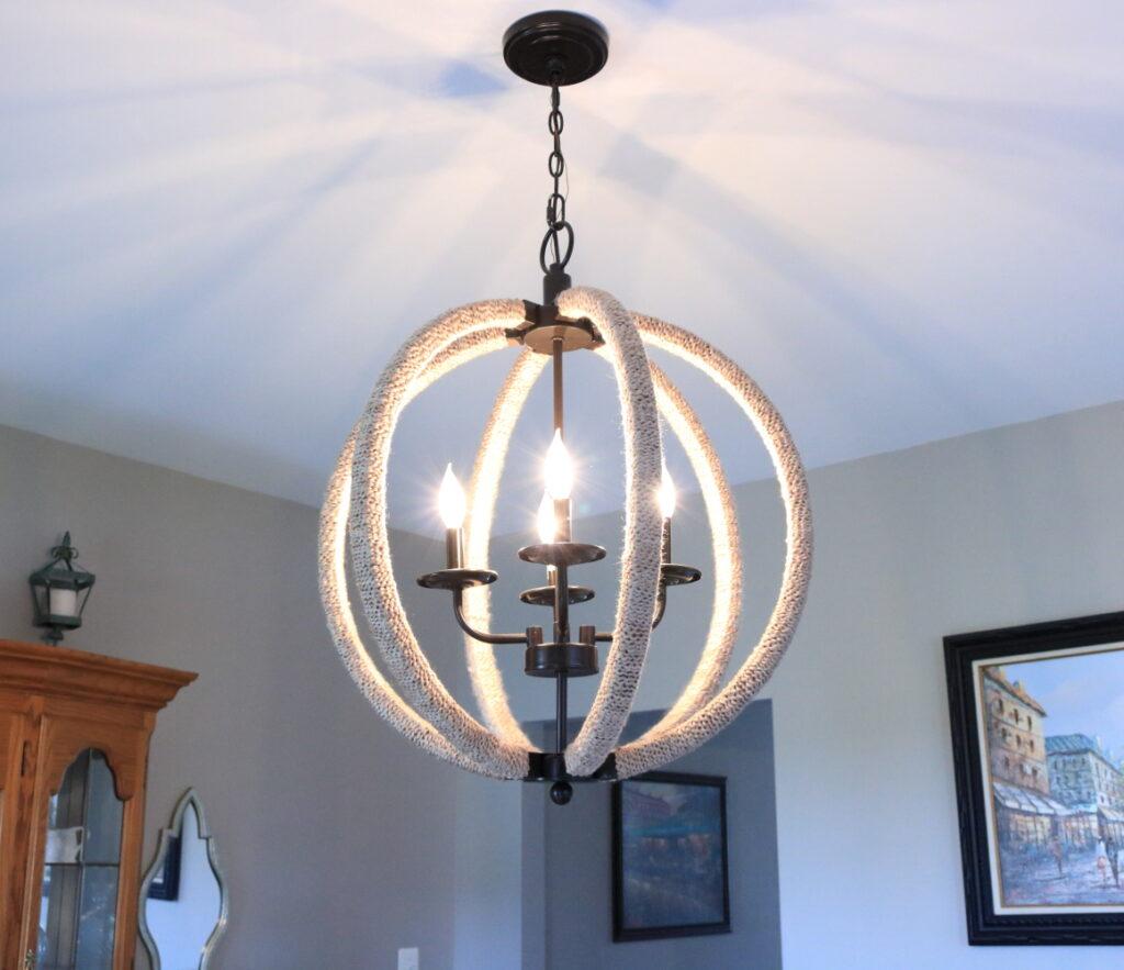 lights on chandelier