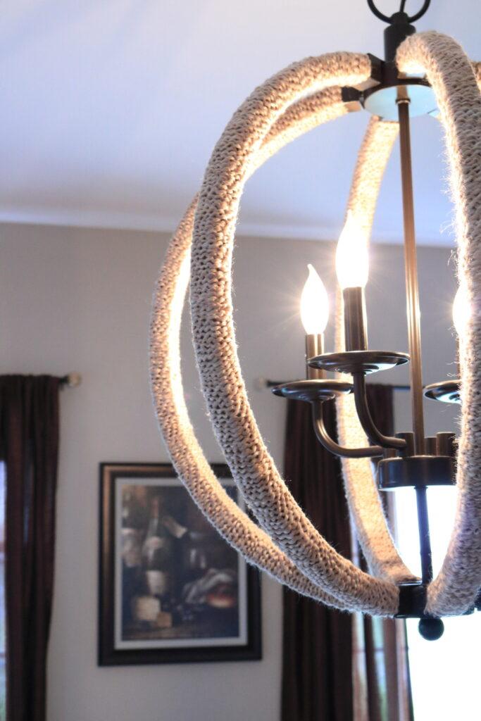 yarn wrapped chandelier