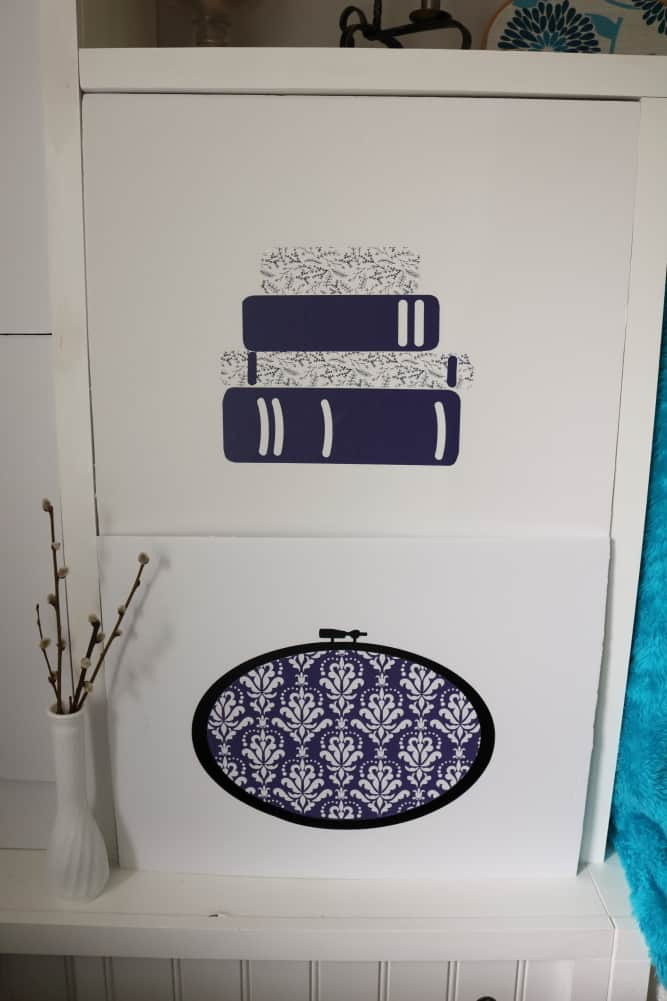 books, fabric hoop