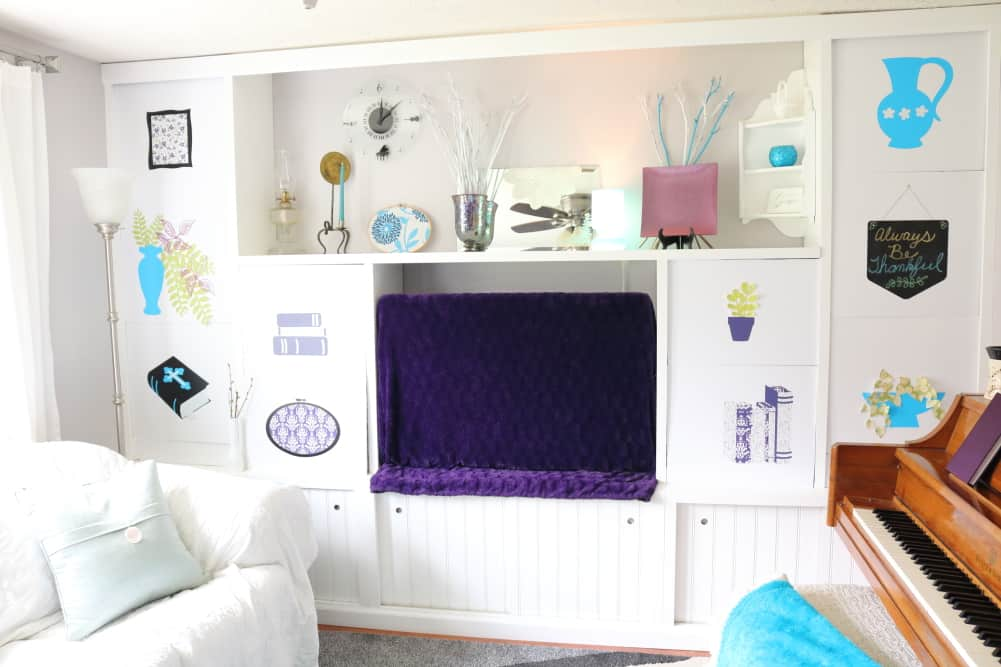 tv area styled with faux decor