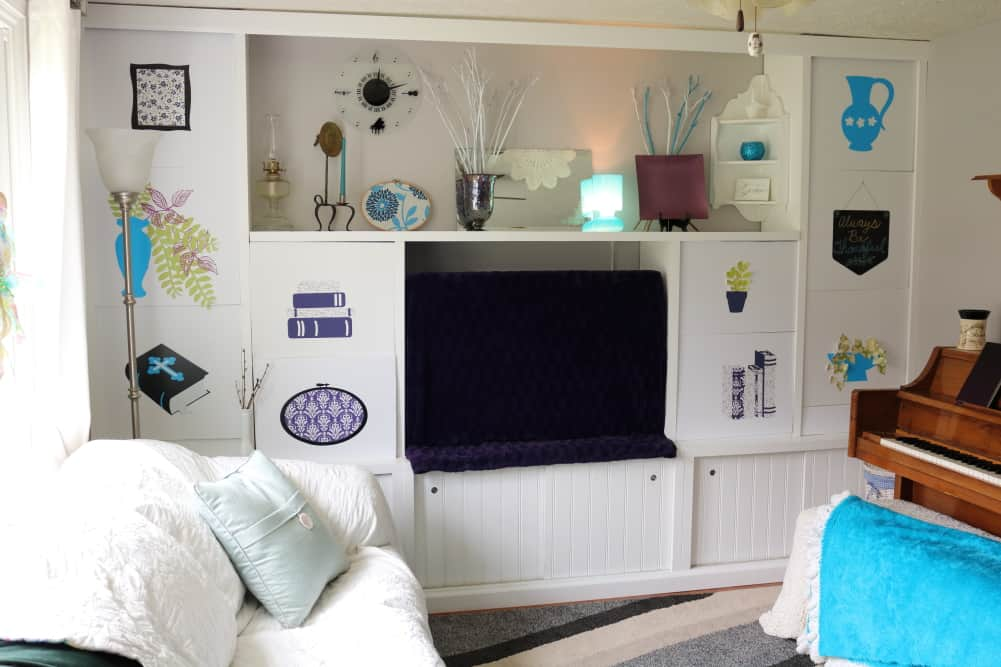 tv decor with purple tv dust cover