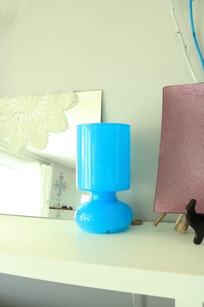 blue Ikea lamp