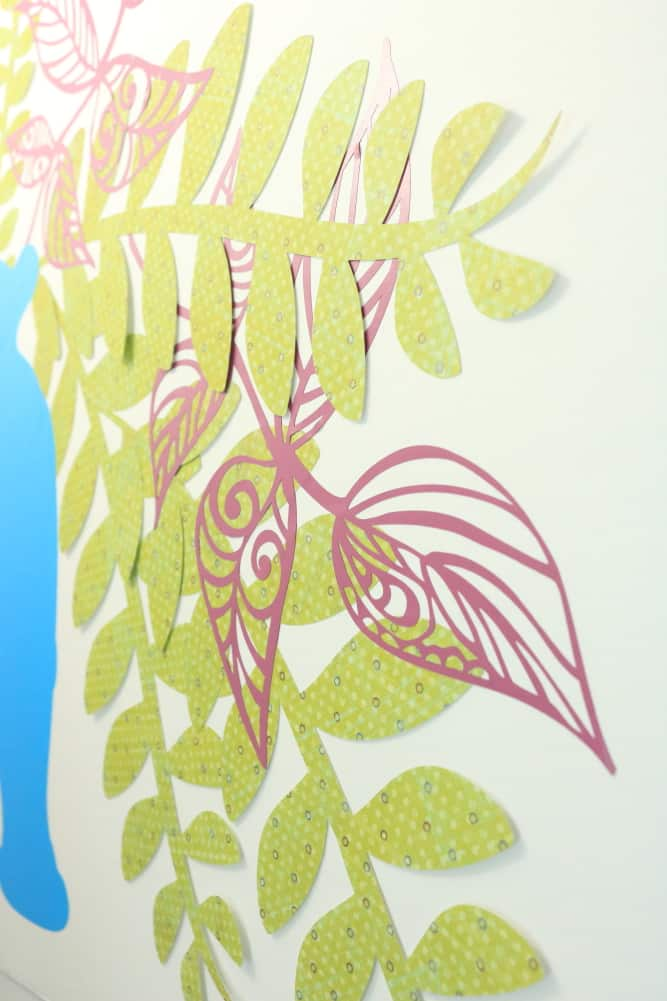closeup of paper greenery