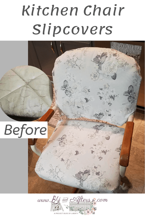 kitchen chair slipcovered with uncovered cracked vinyl showing also