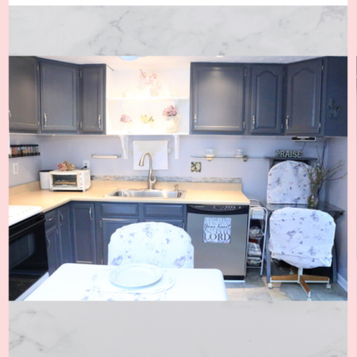 painted kitchen cabinets, slipcovered chairs, new kitchen faucet and sink