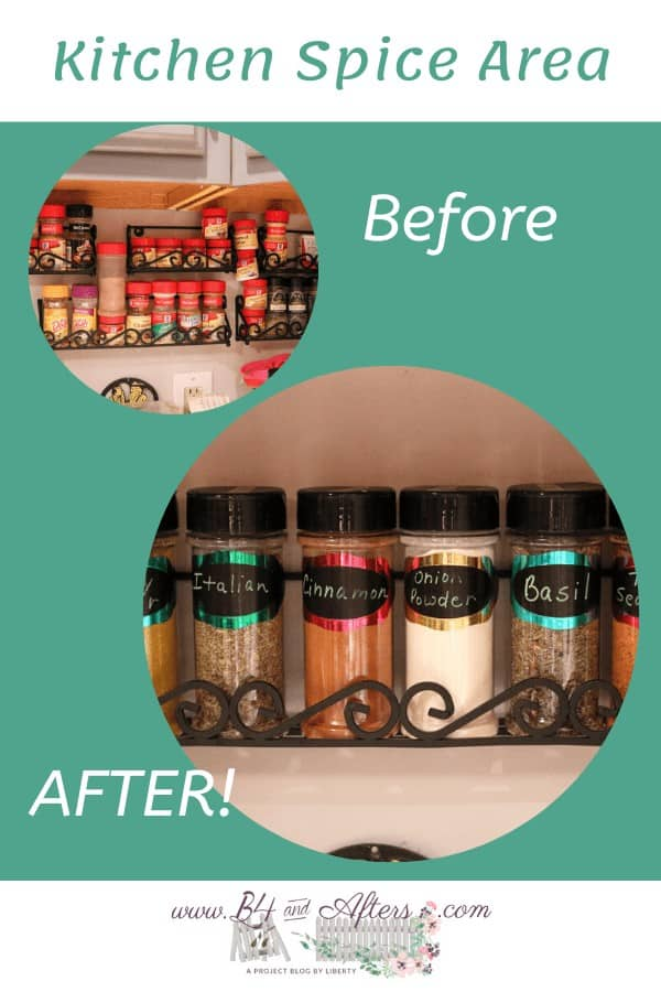 before and after pictures of kitchen spice area organized, with green background
