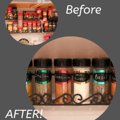 before and after pictures of kitchen spice area organized, with gray background