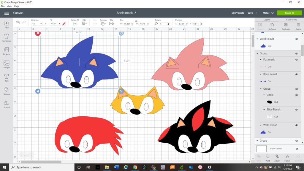 screenshot of Sonic the Hedgehog movie characters in Cricut design space