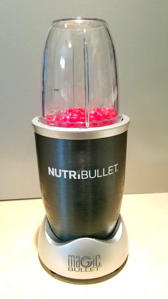 red hot candies in a Nutri Bullet blender