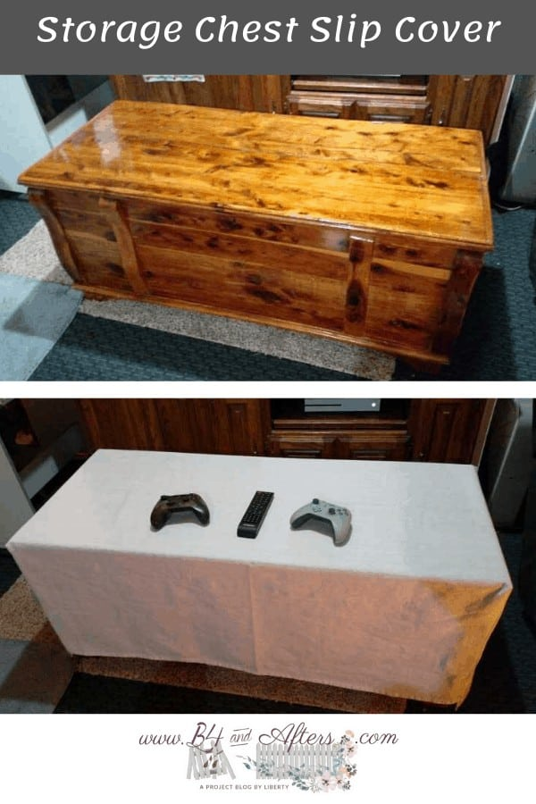 pinterest graphic with bare cedar chest and also white slipcovered cedar chest