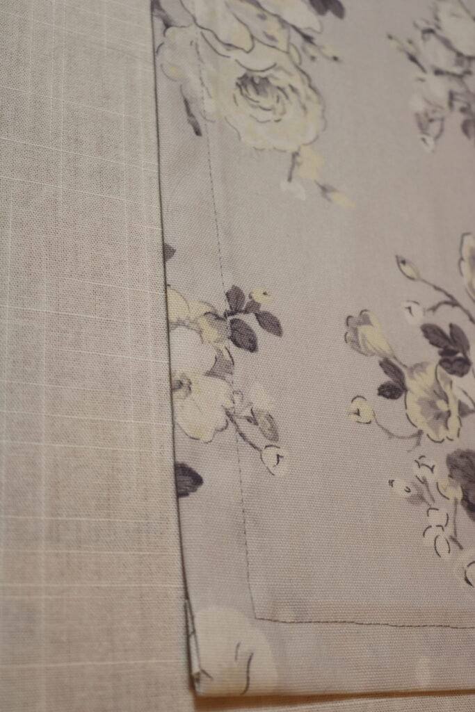 closeup of wide hem on table runner