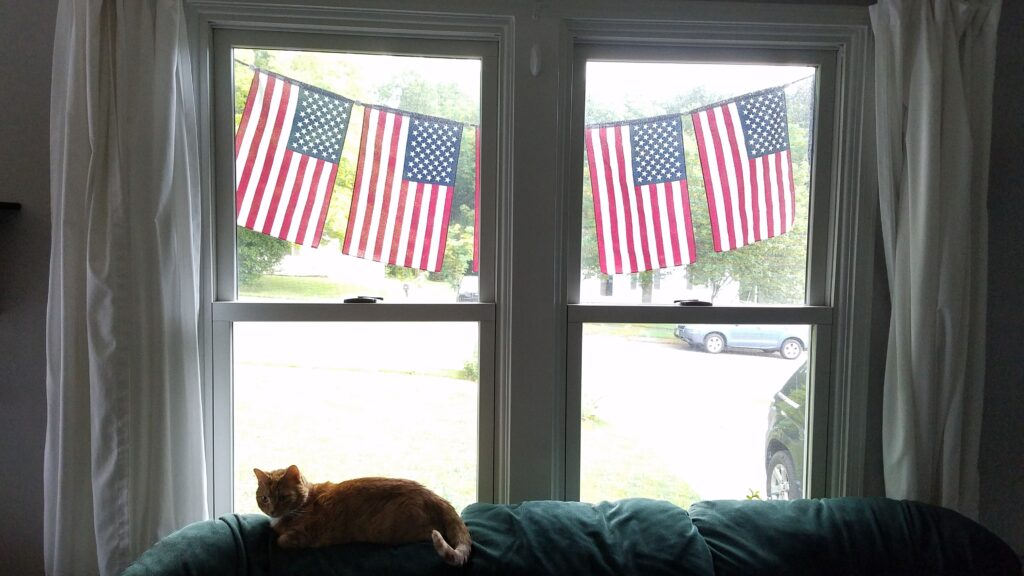 inside the house looking out the windows with flag banner on the outside of the windows
