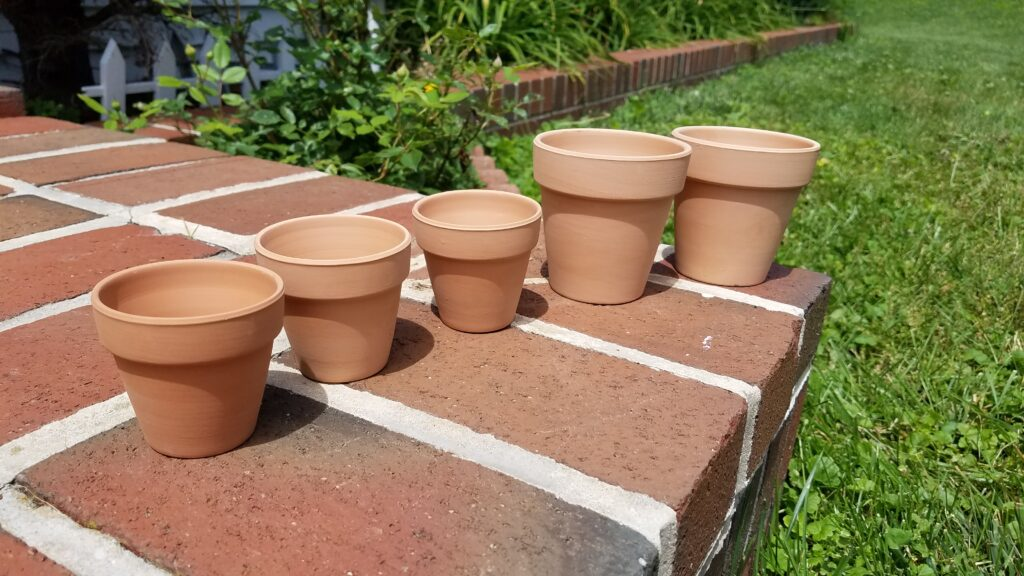 five miniature terra cotta planters