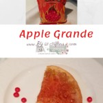 Red hot candies in a bag at the top, text, and a quarter slice of apple grande on a white plate with red hot candies nearby
