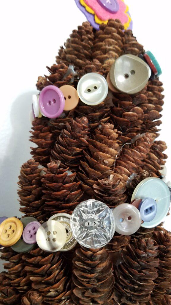 closeup of button garland