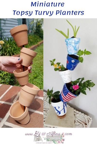 pinterest graphic before and after pictures of mini topsy turvy planters