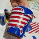 United States napkin decoupaged onto little pot