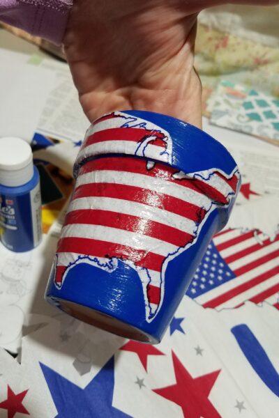United States napkin decoupaged onto little pot
