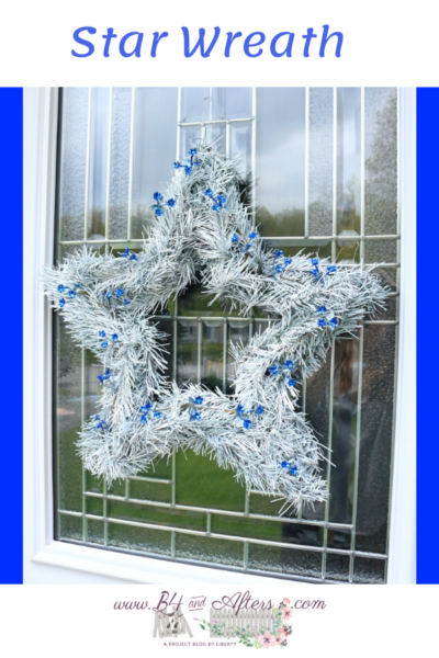 White star wreath with bright blue accents