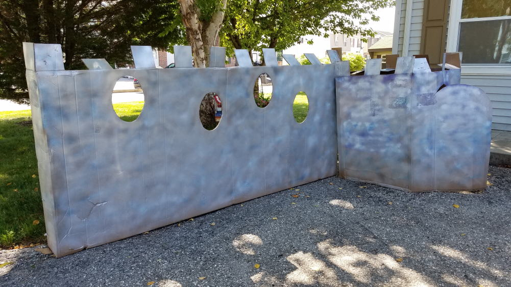 spray painted cardboard castle photo booth