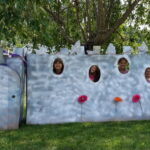 Cardboard Castle photo booth spray painted, for four people