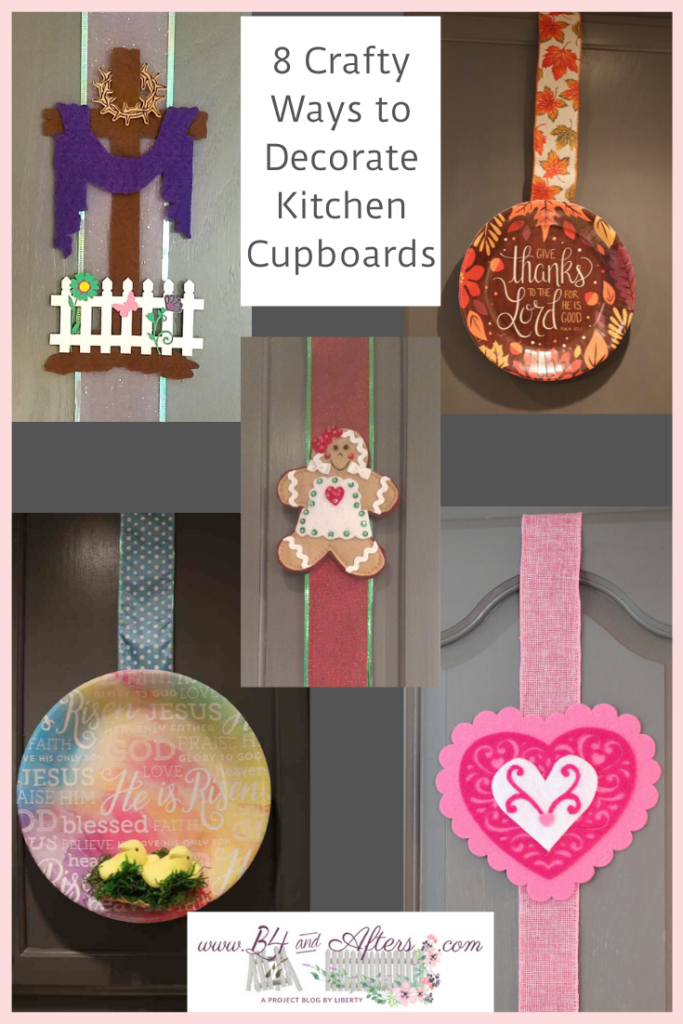 5 pictures of various ways to decorate kitchen cupboards for the holidays using paper plates and felt