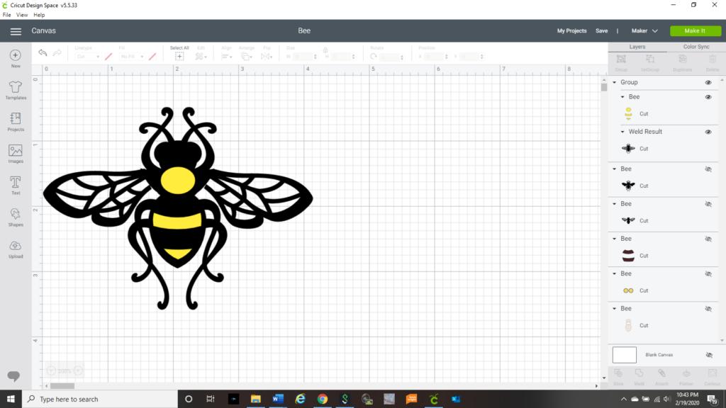 Honey Bee in Cricut Design Space screenshot