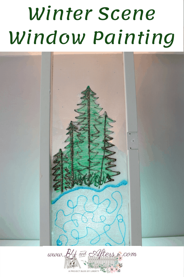 Winter Scene Window Painting of evergreen trees and pond