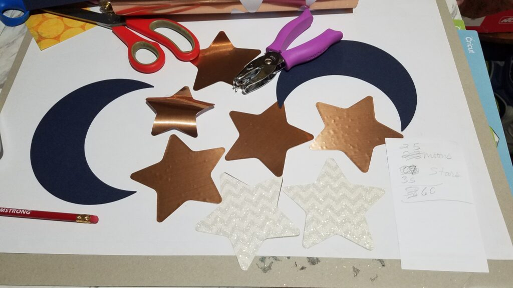 rose gold moons and navy blue cardstock stars
