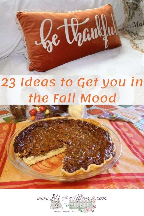 be thankful pillow and pecan cheesecake pie -- 23 ideas for fall