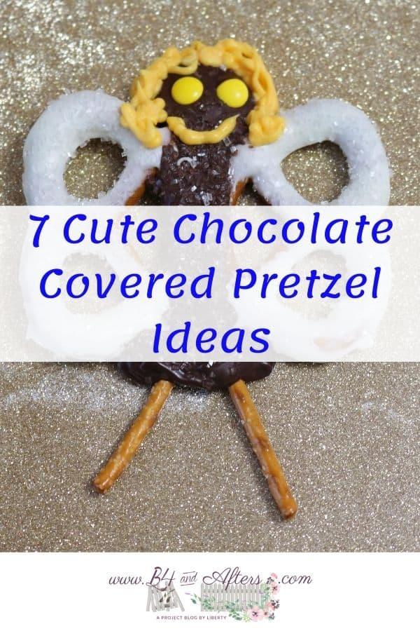 Chocolate Pretzel Angel with Text across it