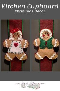 gingerbread girl and gingerbread boy on ribbon on kitchen cabinets