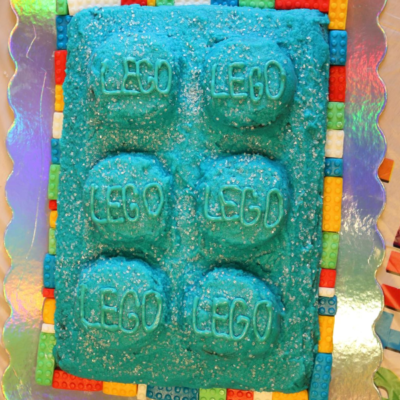 LEGO Cake with fondant lego border